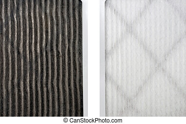 Clean and dirty furnace filters side by side