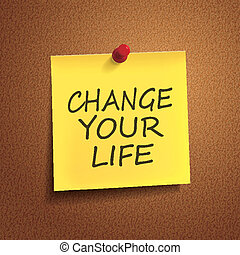 change your life words on post-it