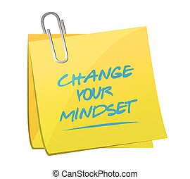 change your mindset memo illustration design over a white ...