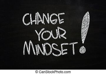 Change Your Mindset written with Chalk on Blackboard