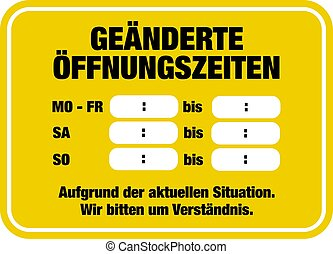 changed business hours sign template with German text - ...