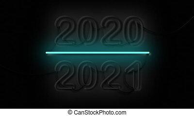 changement, 2020-2021, heureux, signe, 2021, néon, nouveau, ...