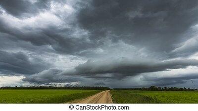 changement, atmosphérique, orage, climat, nuages mouvement, réchauffement planète, jeûne, ground., sur