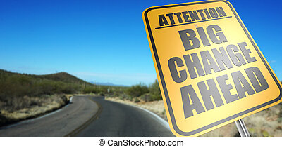 changement, grand, devant, panneaux signalisations