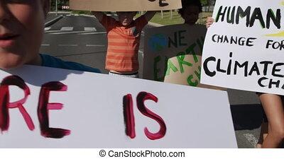 changement, groupe, gosses, climat, protestation, signes