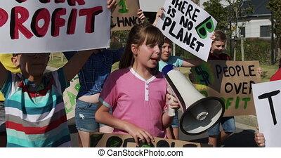 changement, groupe, gosses, porte voix, climat, protestation...