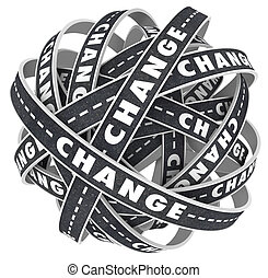 changement, routes, tordre, modification cours, couloirs