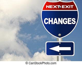 changement, signe, route