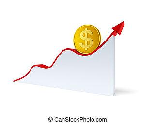 changements, dans, les, dollar, cours change