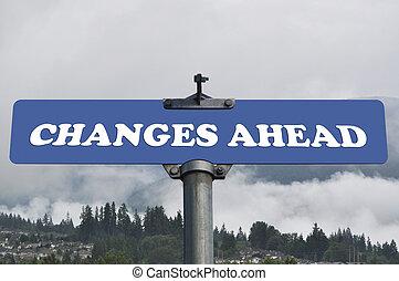 changements, devant, panneaux signalisations