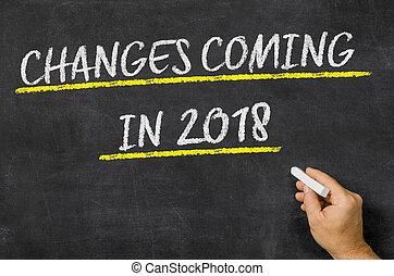 changements, venir, dans, 2018, écrit, sur, a, tableau noir
