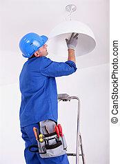 changer, électricien, ampoule