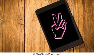 changer, animation, icône, tablette, main, couleurs, ...