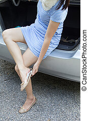 changer, girl, chaussures