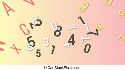changer, nombres, contre, alphabets, numérique, arrière-plan rose, animation, multiple