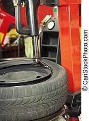 changer pneu, dans, a, garage