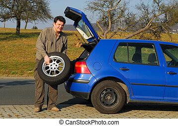 changer, route, pneu, homme