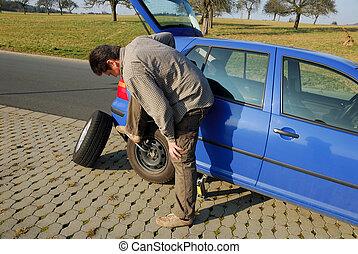 changer, route, pneu