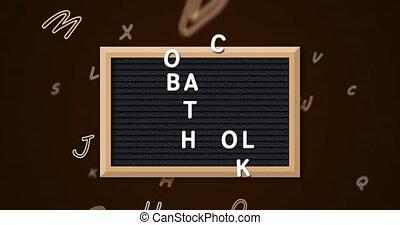 changer, texte, dos, contre, alphabets, numérique, ardoise, noir, backg, école, animation, multiple