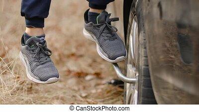 changer, voiture, pneus, tool., spécial, remplacer, pneu, ...