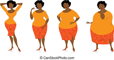 Vector illustration of four stages of slimming lady