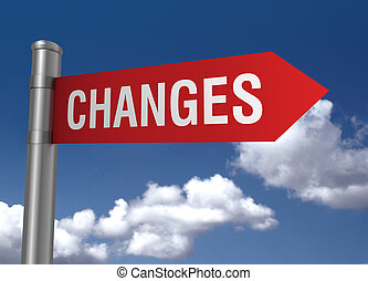 changes road sign 3d illustration