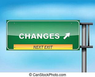"""""""changes"""", texte, signe route"""