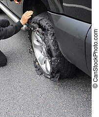 wheel after tire explosion - changing a truck wheel after...