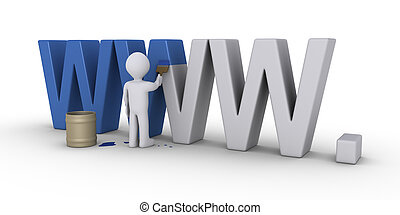 Changing appearance of website - 3d person with brush is...