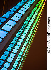 Changing color lights of a modern building