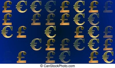 Changing pound and euro signs on blue