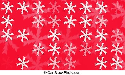 Changing snowflakes in white on red