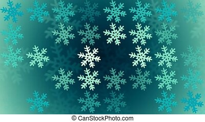 Changing snowflakes on blue color
