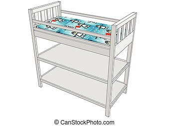... Changing Table Isolated On A White Background