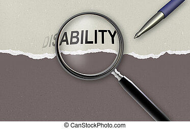 changing the word disability for ability and magnifying glass made in 2d software
