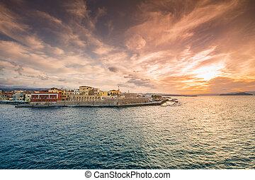 chania, à, les, surprenant, phare, mosquée, vénitien, chantiers navals, à, coucher soleil, crète, greece.
