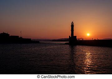 Chania, Crete, Greece: lighthouse in Venetian harbor