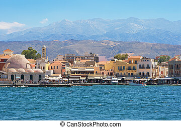 Chania harbour. Crete - Old Venetian harbour in Chania. ...