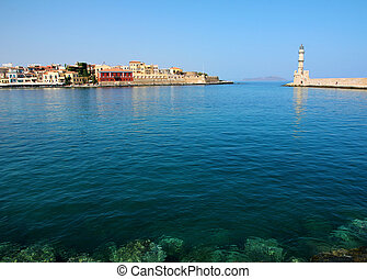 Chania,  old town port, on a sunny day