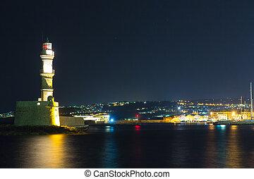 Chania town (Crete,Greece), light house at night