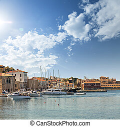 Chania town on Crete - Image of the port in Chania on the...