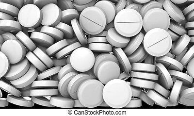 channel., arrière-plan., noir, transition, contre, animation, 3d, bas, tas, pilules, automne, alpha, closeup, blanc, effect., fond, pharmaceutique