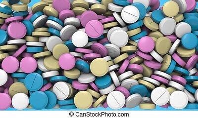 channel., arrière-plan., transition, contre, animation, 3d, bas, bleu, tas, pilules, automne, alpha, closeup, coloré, effect., fond, pharmaceutique