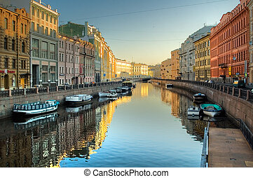 Channel at St.Petersburg - River channel with boats in...