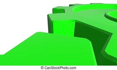 channel., haut, arrière-plan., bords, vert, engrenages, alpha, fin, blanc