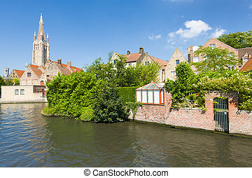Channel in Bruges - A channel in Bruges in a summer day
