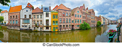 Ghent, Belgium  - Channel in center of Ghent, Belgium