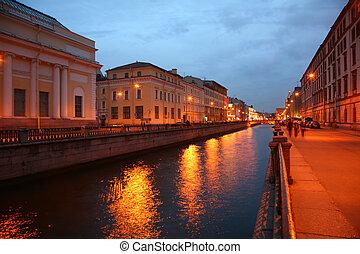 Channel in St.Petersburg in dusk
