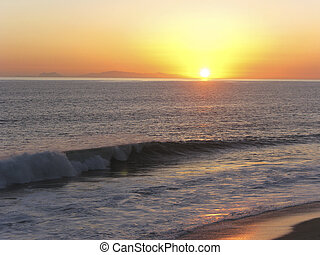 California Channel Island at Sunset, Ventura County