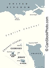 Channel Islands Guernsey and Jersey, gray political map -...